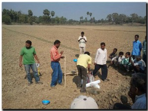 Farmers setting pan traps for insect sampling